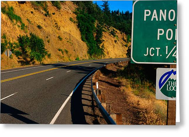 Hood River Oregon Greeting Cards - This Is A Road Sign That Says Panorama Greeting Card by Panoramic Images