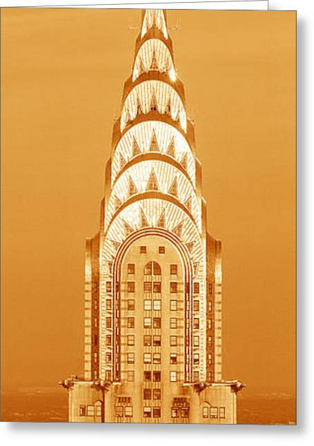 Chrysler Building At Sunset Greeting Card by Panoramic Images