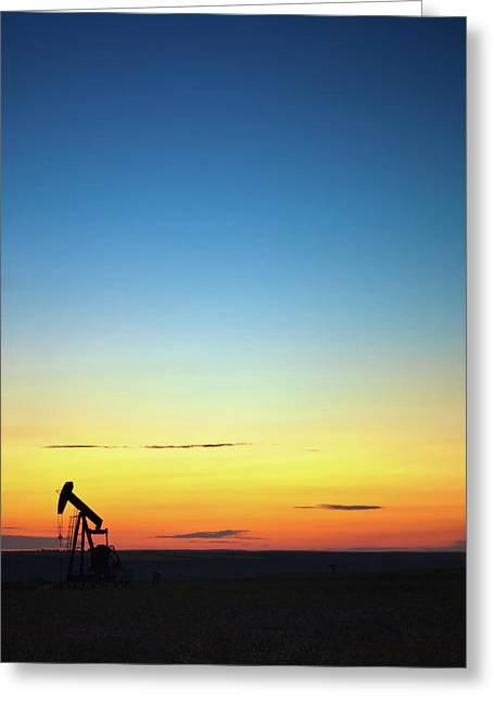 Alberta Prairie Landscape Greeting Cards - This is Alberta No.14B - Prairie Oil Sunset Greeting Card by Paul W Sharpe Aka Wizard of Wonders