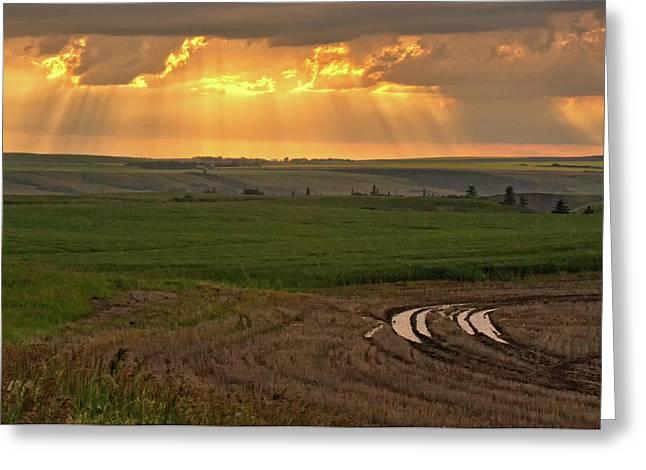 Alberta Prairie Landscape Greeting Cards - This is Alberta No.16 - Chased by the Rain Greeting Card by Paul W Sharpe Aka Wizard of Wonders