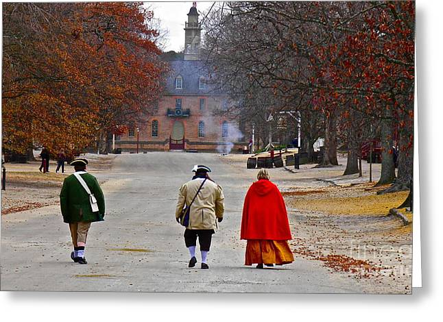 Colonial Scene Greeting Cards - This is Colonial Williamsburg Greeting Card by E Robert Dee