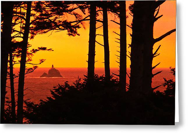 This Is Oregon State 8 - The Light House At Sea Lion Rock Greeting Card by Paul W Sharpe Aka Wizard of Wonders