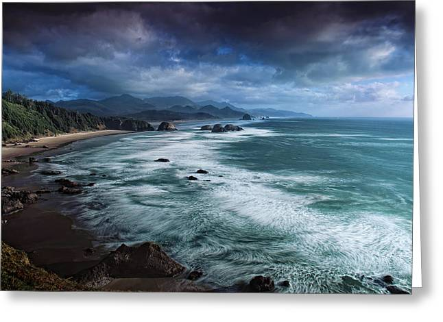 This Is Oregon State No.16 - Cannon Beach Waves Greeting Card by Paul W Sharpe Aka Wizard of Wonders