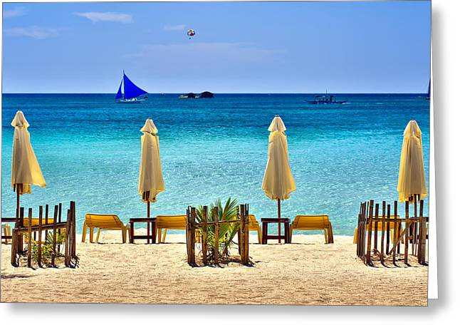 Sandy Beaches Greeting Cards - This is the Philippines No.28 - Beach Scene with Sail Boats Greeting Card by Paul W Sharpe Aka Wizard of Wonders