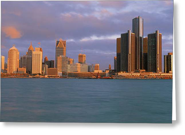 Renaissance Center Greeting Cards - This Is The Skyline And Renaissance Greeting Card by Panoramic Images