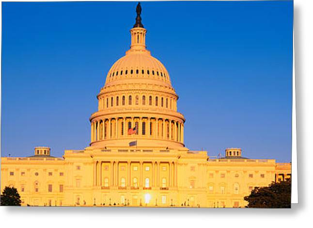 Patriotic Scenes Greeting Cards - This Is The U.s. Capitol At Sunset. It Greeting Card by Panoramic Images