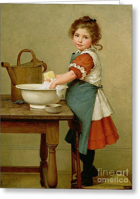 Little Girl Greeting Cards - This Is the Way We Wash Our Clothes  Greeting Card by George Dunlop Leslie