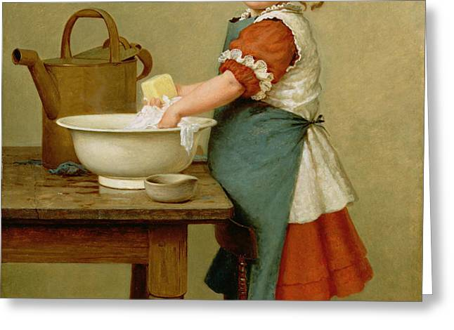 This Is the Way We Wash Our Clothes  Greeting Card by George Dunlop Leslie