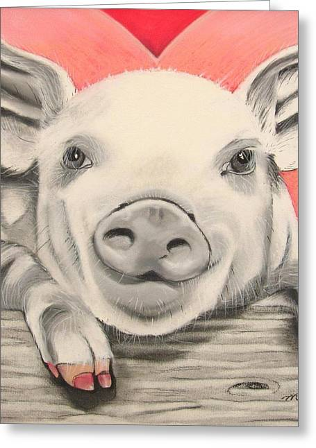 Pigs Pastels Greeting Cards - This little piggy... Greeting Card by Michelle Hayden-Marsan