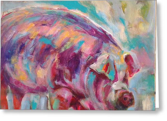 Piglets Greeting Cards - This Little Piggy Greeting Card by Molly Wright
