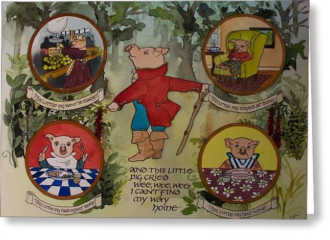 Nursery Rhyme Paintings Greeting Cards - This Little Piggy Greeting Card by Victoria Heryet