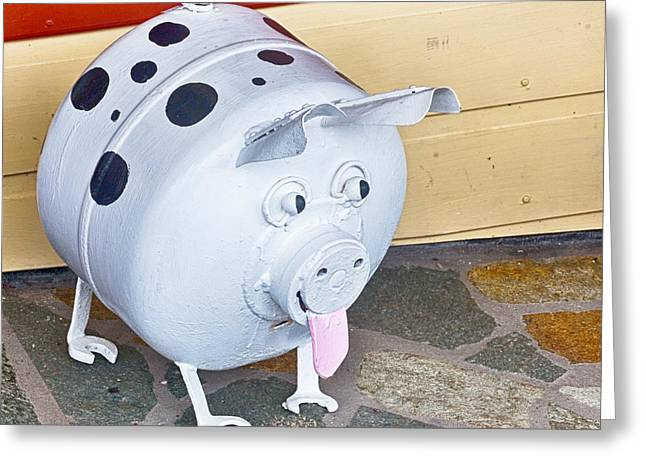 Porcine Animal Greeting Cards - This little piggy went to market Greeting Card by Wendy Townrow