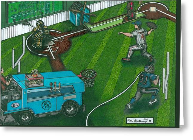 Baseball Field Drawings Greeting Cards - This Makes About As Much Sense As A Football Bat Greeting Card by Richie Montgomery