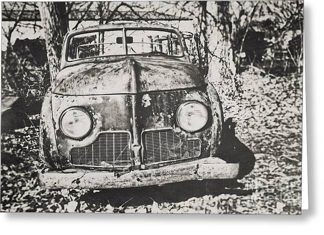 Rusted Cars Greeting Cards - This Old Car Greeting Card by Emily Enz