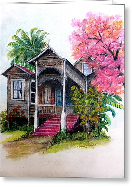 """""""haunted House"""" Pastels Greeting Cards - This Old House  Greeting Card by Karin Kelshall- Best"""