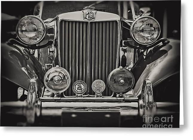 This Old Mg In Black And White Greeting Card by Emily Kay
