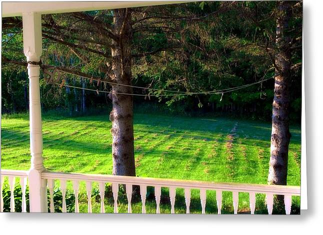 Maine Farms Greeting Cards - This Old Porch Greeting Card by Lisa Gilliam
