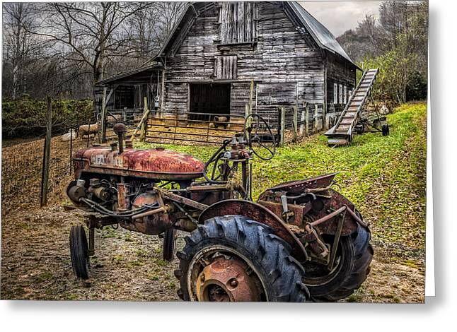 Tennessee Farm Greeting Cards - This Old Tractor Greeting Card by Debra and Dave Vanderlaan