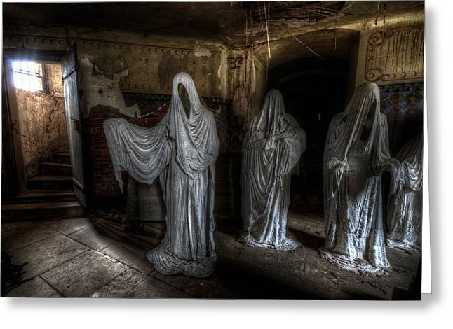 Ghostly Digital Greeting Cards - This way please Greeting Card by Nathan Wright