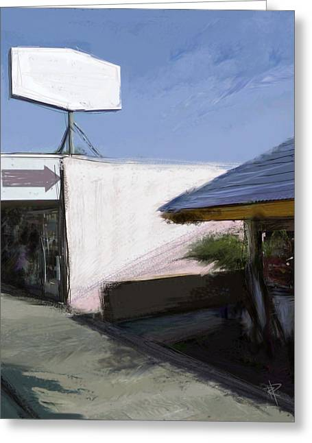 Main Street Mixed Media Greeting Cards - This way Greeting Card by Russell Pierce