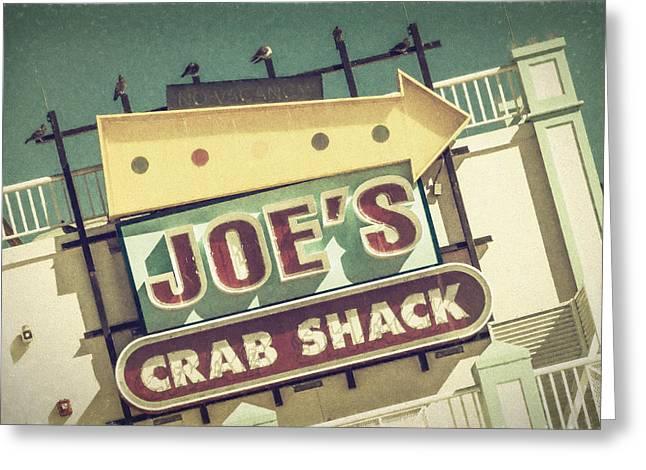 Shack Greeting Cards - This Way to Joes Crab Shack Greeting Card by Joan Carroll