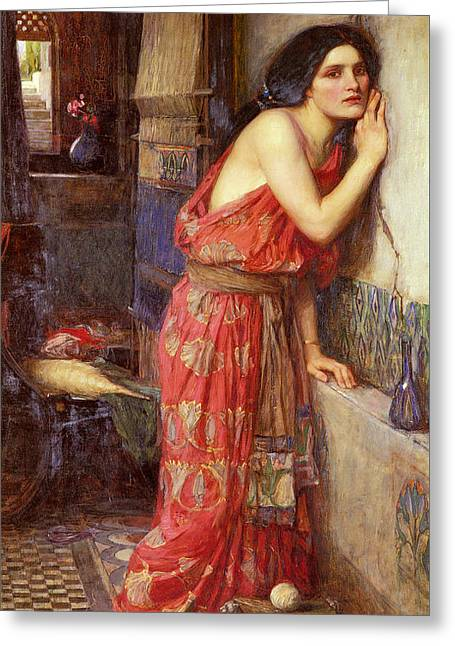 Babylon Paintings Greeting Cards - Thisbe Greeting Card by John William Waterhouse