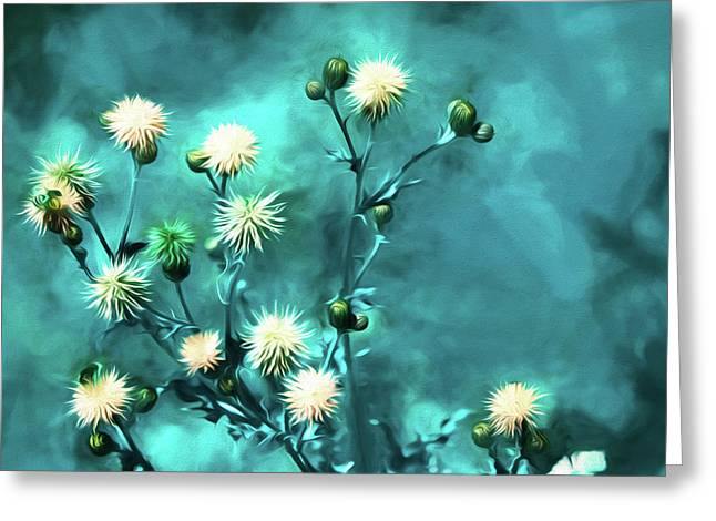 Thistle Art - Large Format Greeting Card by Bonnie Bruno