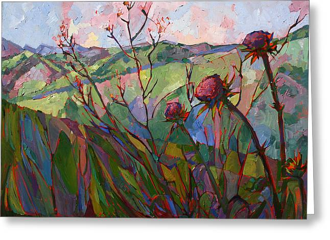 San Luis Obispo Greeting Cards - Thistle Mosaic Greeting Card by Erin Hanson