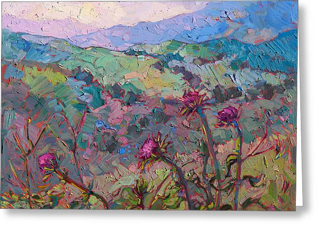 Thistles At Paso Greeting Card by Erin Hanson