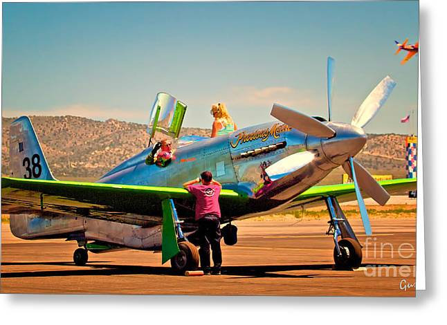 Precious Metals Greeting Cards - Thom and Maggie Richard With P-51 Precious Metal Reno PRS 2011 Greeting Card by Gus McCrea
