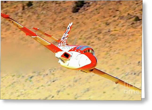Reno Air Races Greeting Cards - Thom Richard and Iskra Jet Race 3 Pole Dancer Greeting Card by Gus McCrea