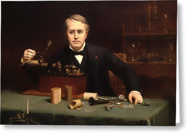 Thomas Alva Edison Greeting Cards - Thomas Alva Edison Greeting Card by Abraham Archibold Anderson