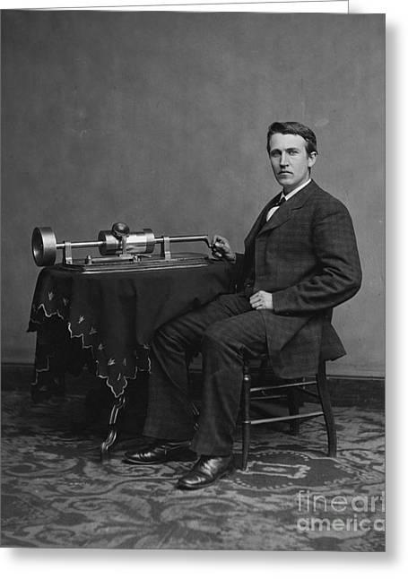 Edison Greeting Cards - Thomas Alva Edison. Greeting Card by   Waite
