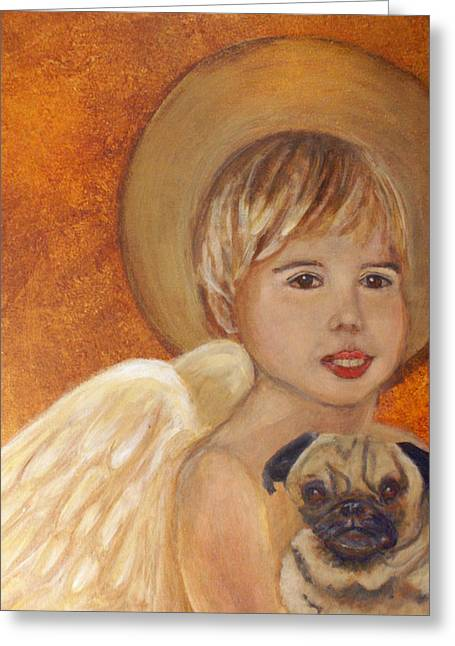 Recently Sold -  - Best Friend Greeting Cards - Thomas and Bentley Little Angel of Friendship Greeting Card by The Art With A Heart By Charlotte Phillips
