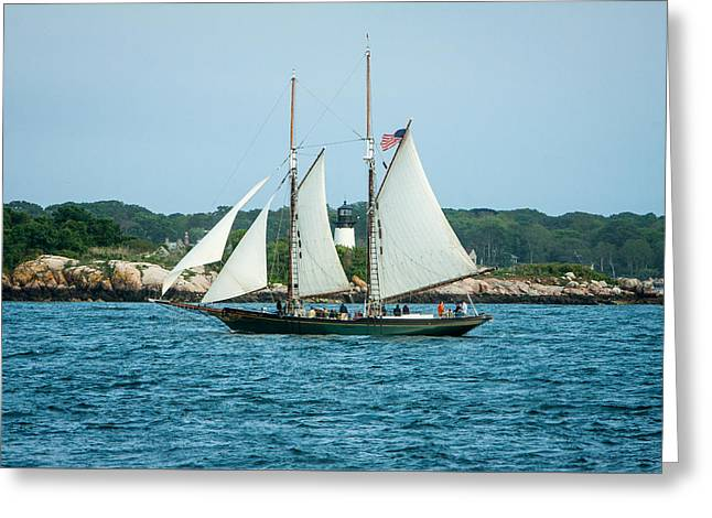 Sailboat Images Greeting Cards - Thomas E. Lannon sailing past Ten Pound Lighthouse Greeting Card by Jeff Folger