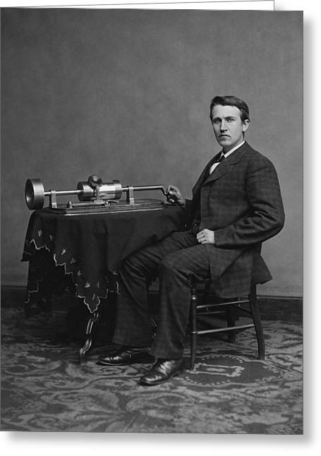 Thomas Edison And His Phonograph Greeting Card by War Is Hell Store