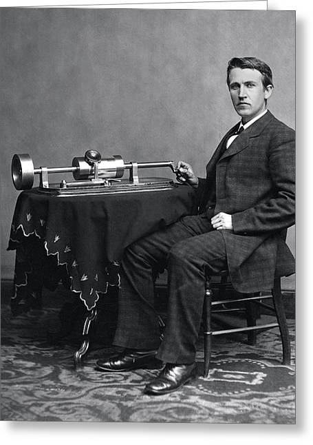 Edison Greeting Cards - THOMAS EDISON and PHONOGRAPH 1877 Greeting Card by Daniel Hagerman