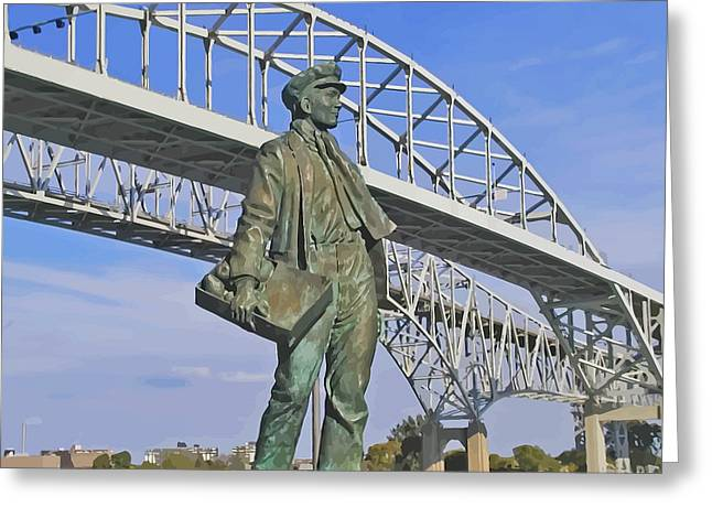 Edison Greeting Cards - Thomas Edison at Blue Water Bridge Greeting Card by Kenneth Hein