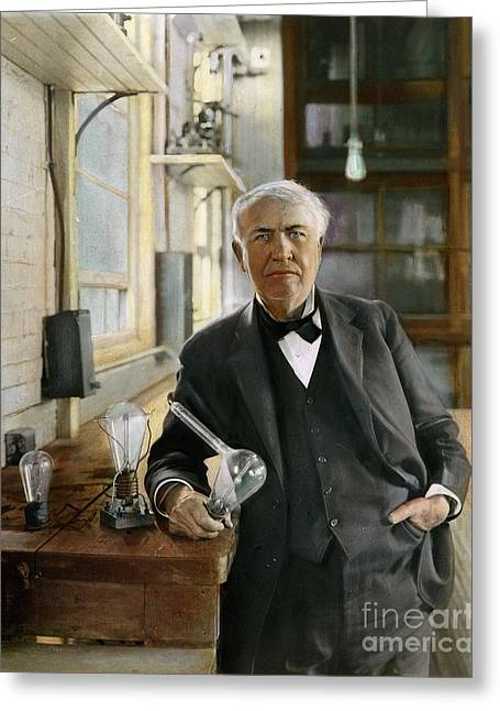 Edison Greeting Cards - Thomas Edison Greeting Card by Granger