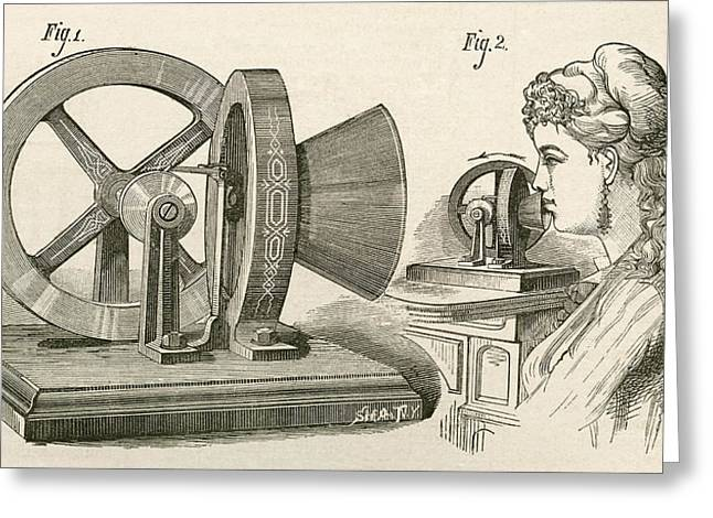 Mechanism Drawings Greeting Cards - Thomas Edison S Sound Meter. A Machine Greeting Card by Vintage Design Pics