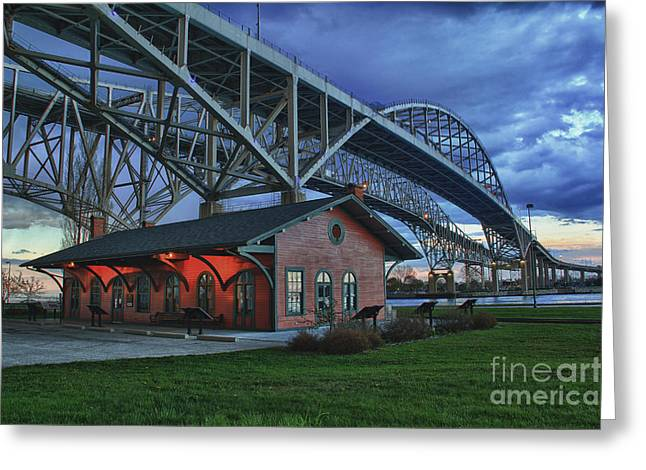 Edison Greeting Cards - Thomas Edison Train Depot and Blue Water Bridges Greeting Card by Scott Bert