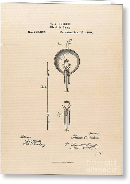 Edison Greeting Cards - Thomas Edisons Patent Application for the Light Bulb 1880 Greeting Card by R Muirhead Art