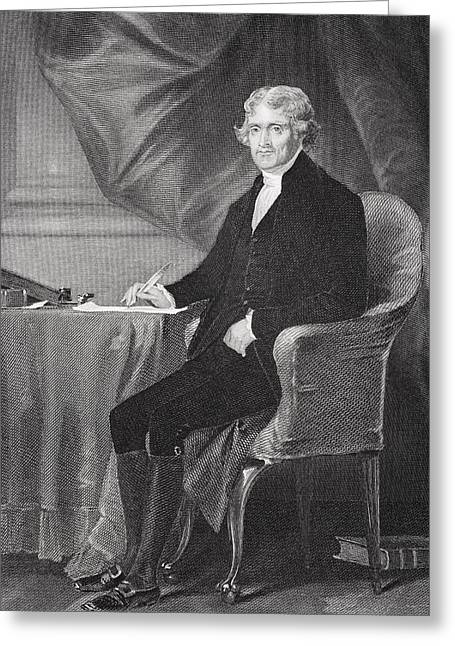Fame Drawings Greeting Cards - Thomas Jefferson 1743-1826. Third Greeting Card by Ken Welsh