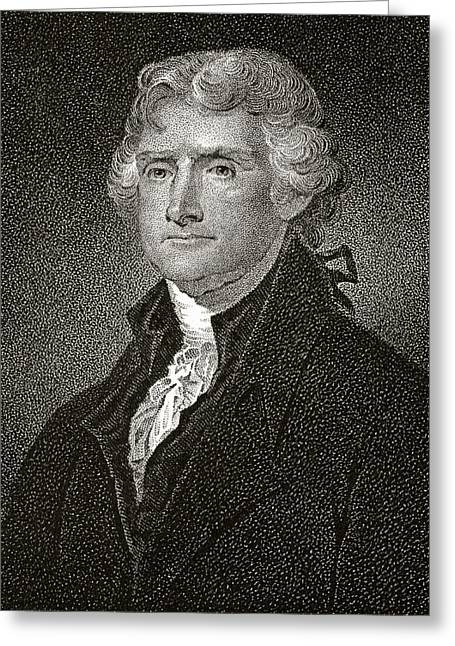 Thomas Jefferson 1743 To 1826 American Greeting Card by Vintage Design Pics