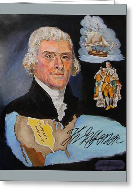 Purchase Greeting Cards - Thomas Jefferson Greeting Card by Jan Mecklenburg