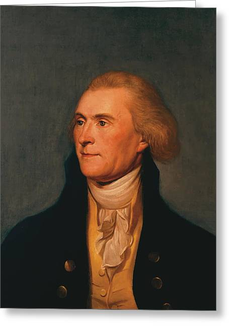 July 4th Paintings Greeting Cards - Thomas Jefferson Greeting Card by War Is Hell Store