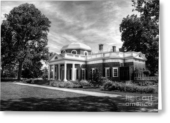 From The Dome Greeting Cards - Thomas Jeffersons Home BW Greeting Card by Mel Steinhauer