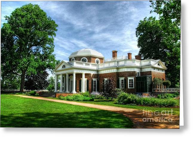 From The Dome Greeting Cards - Thomas Jeffersons Home Greeting Card by Mel Steinhauer