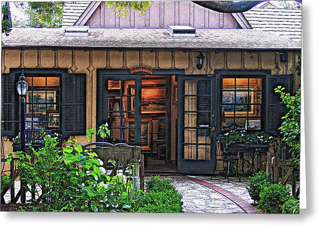 Kinkade Greeting Cards - Thomas Kinkade Garden Gallery Of Carmel Greeting Card by Glenn McCarthy