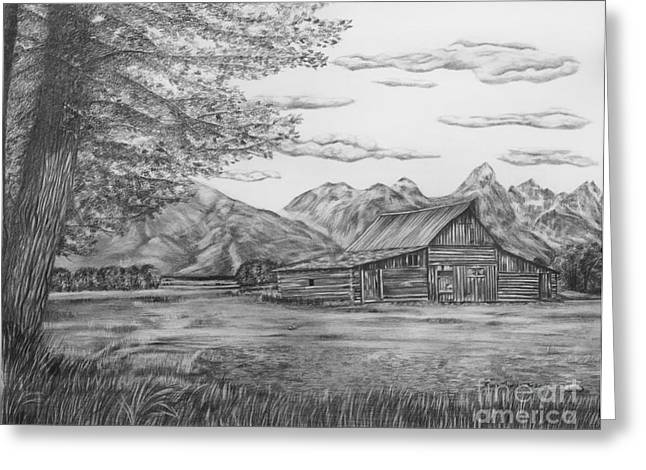 Barn Drawings Greeting Cards - Thomas Moulton Barn Greeting Card by Lena Auxier